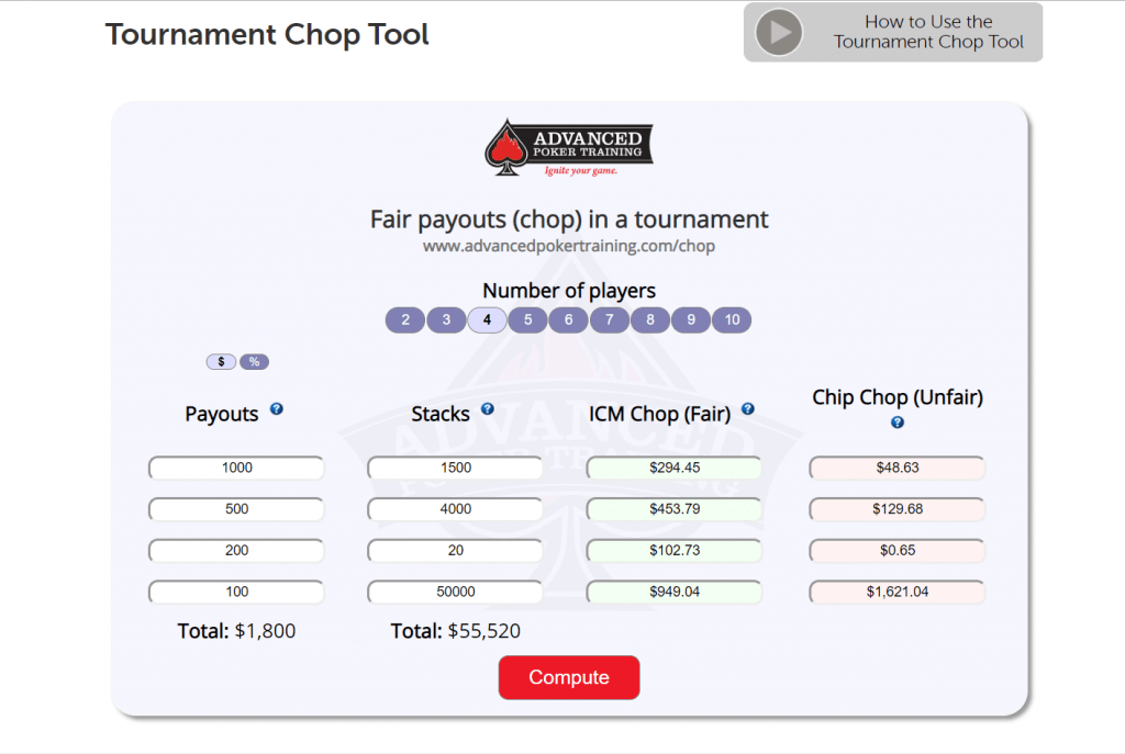 Best Poker Apps Tournament Chop Calculator